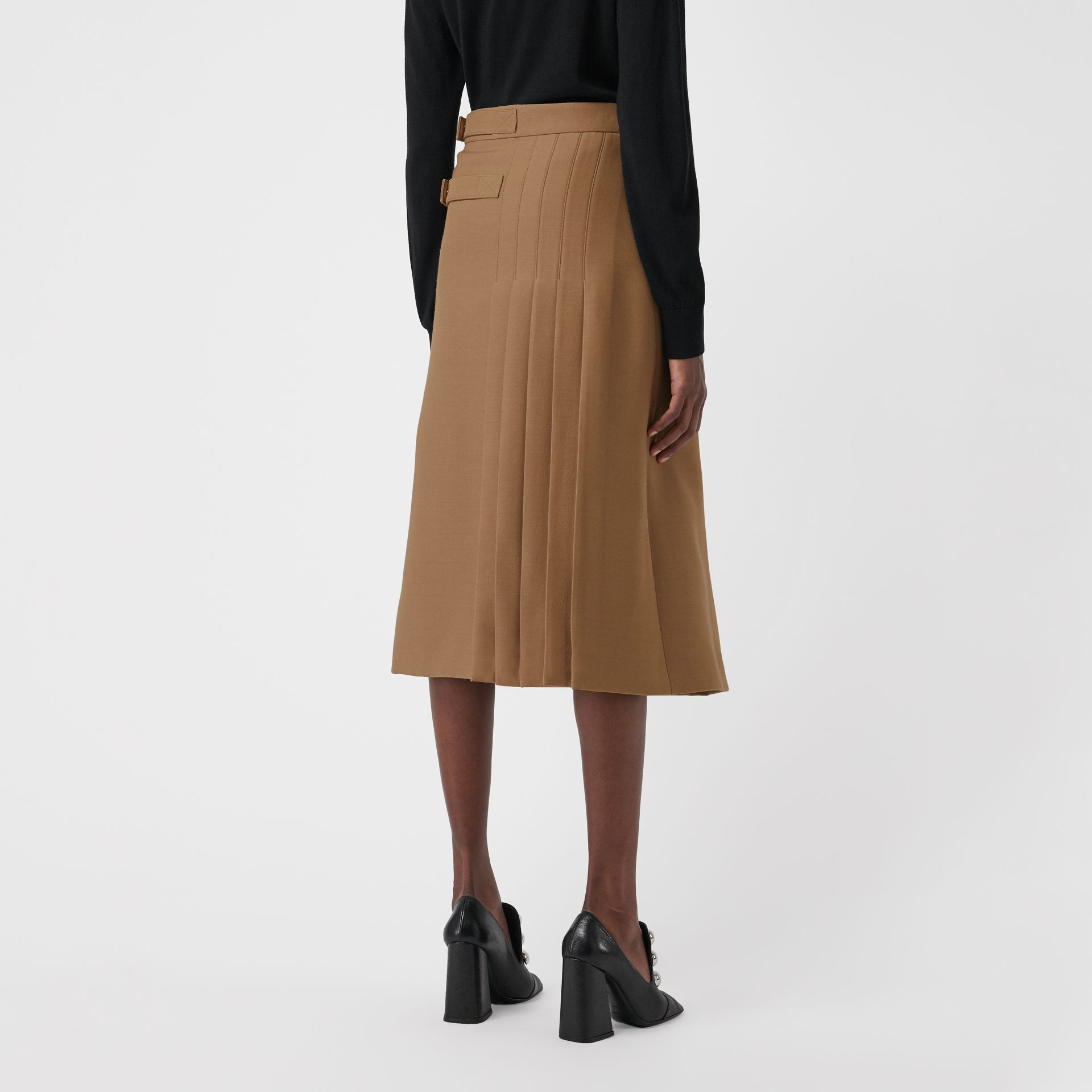 Wool Silk Kilt in Camel - Women | Burberry - gallery image 2