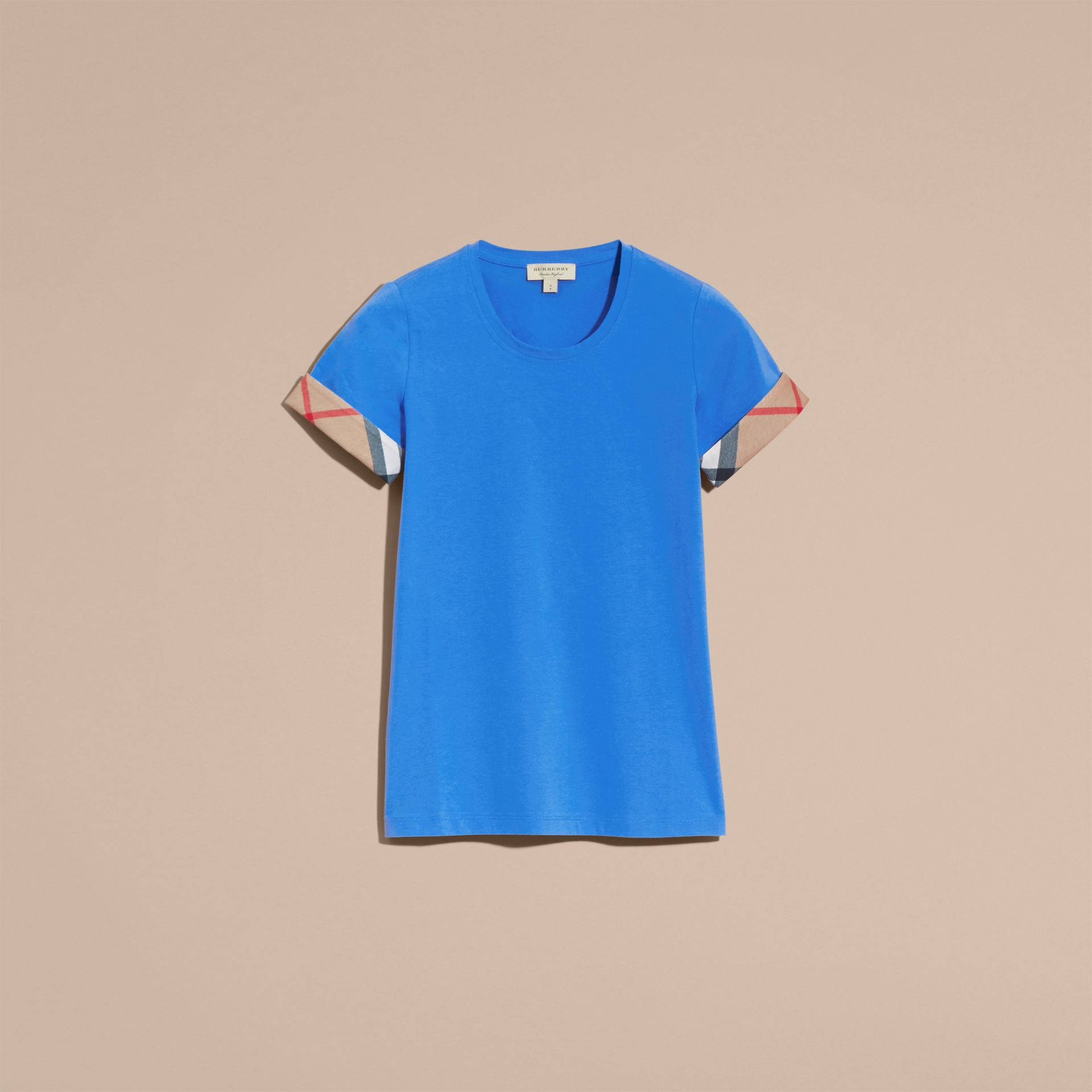 Check Trim Stretch Cotton T-shirt in Bright Hydrangea Blue - gallery image 4