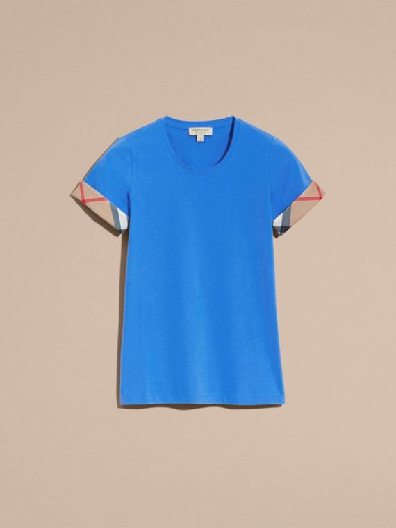 Check Trim Stretch Cotton T-shirt in Bright Hydrangea Blue - cell image 3