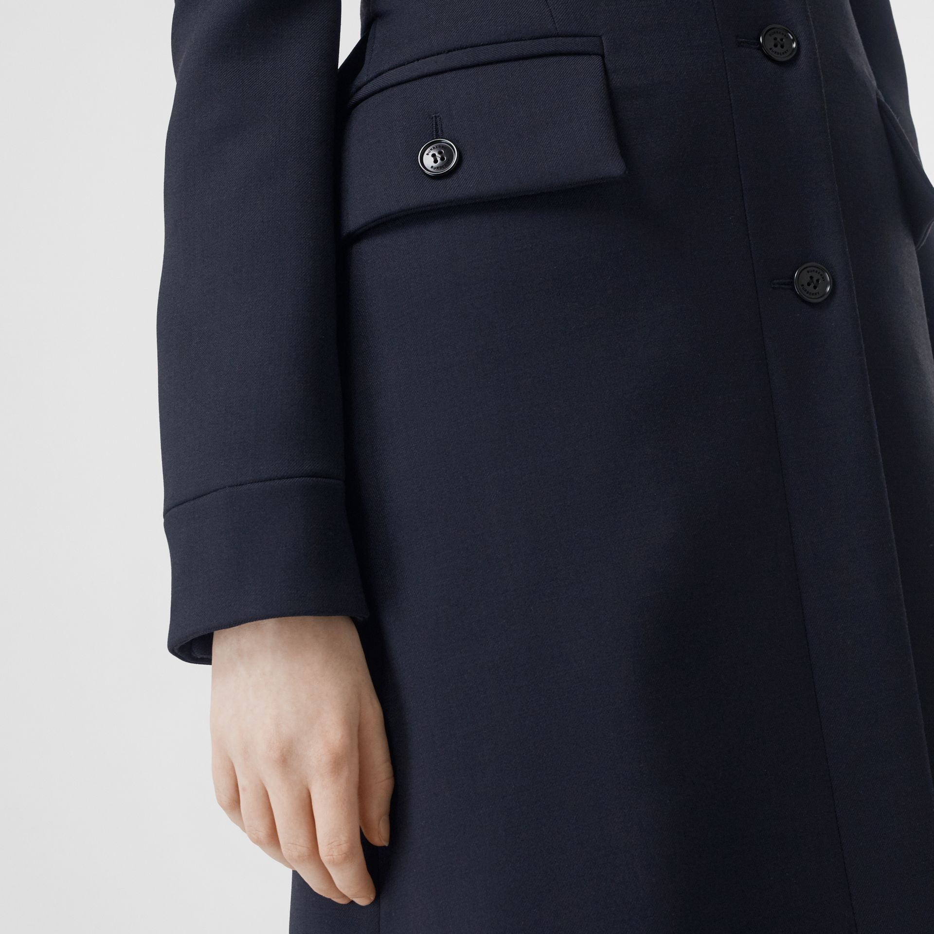 Double-faced Wool Cashmere Blend Coat in Navy - Women | Burberry Singapore - gallery image 3