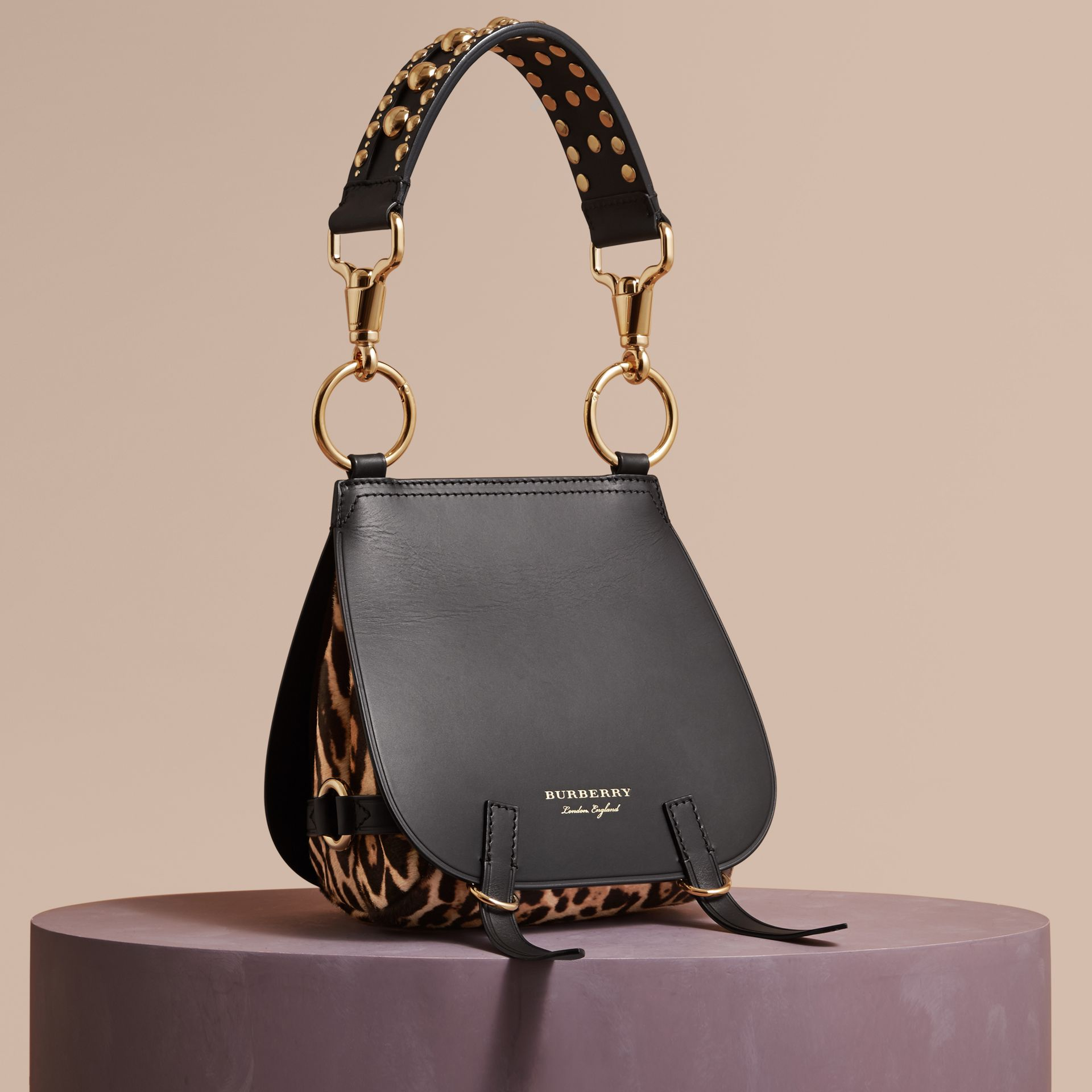 The Bridle Bag in Leather and Calfskin in Black - Women | Burberry United Kingdom - gallery image 1