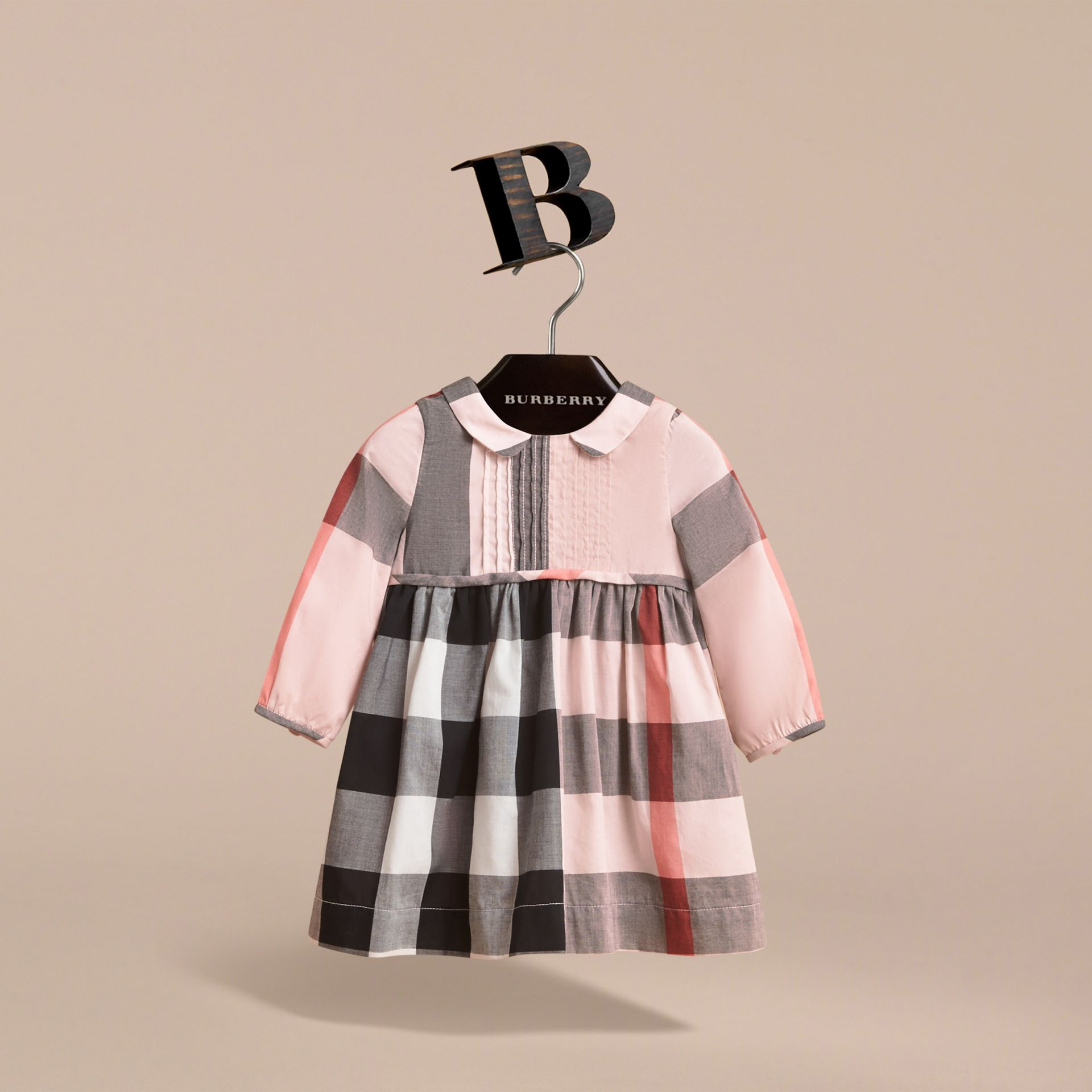 Long-sleeve Check Pintuck Bib Cotton Dress in Vintage Pink | Burberry - gallery image 3