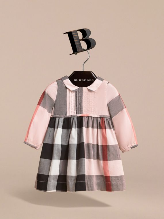 Long-sleeve Check Pintuck Bib Cotton Dress in Vintage Pink | Burberry - cell image 2