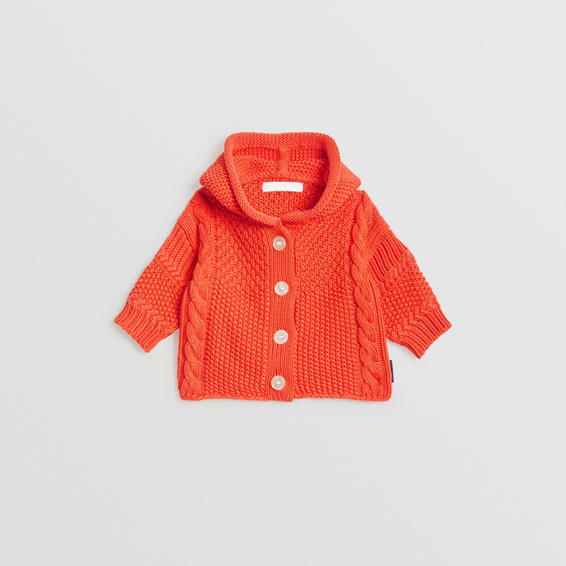 Contrast Knit Cotton Hooded Jacket in Orange Red - Children | Burberry Singapore - gallery image 0