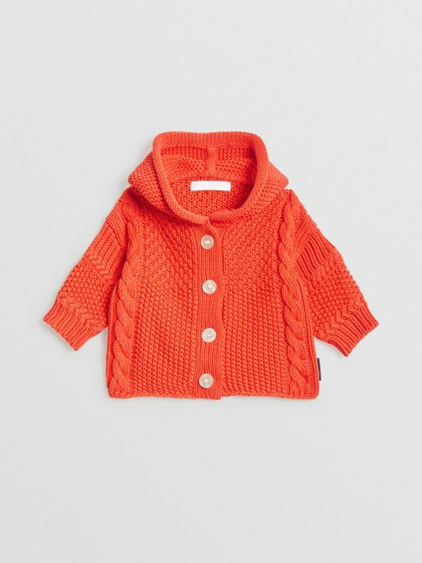 Кардиган контрастной вязки с капюшоном (Красный Апельсин)