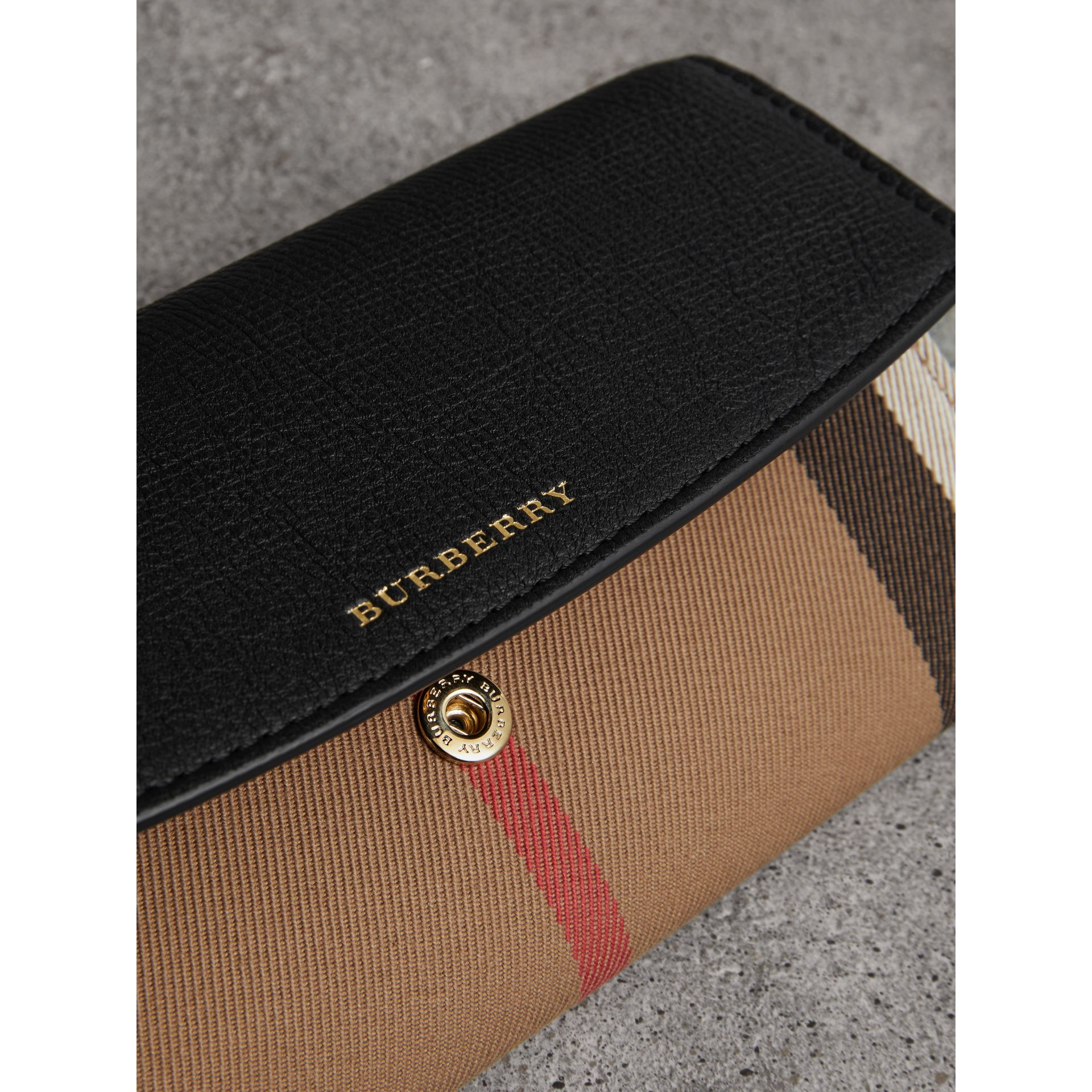 House Check And Leather Continental Wallet in Black - Women | Burberry Australia - gallery image 1