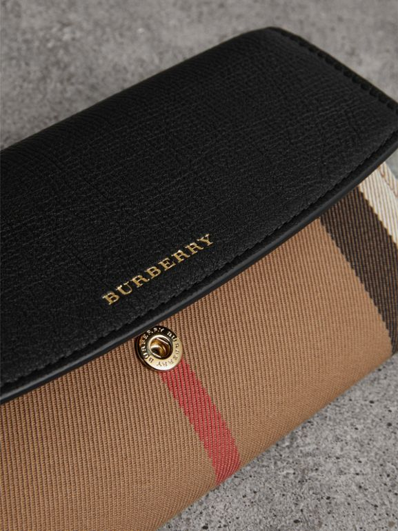 House Check And Leather Continental Wallet in Black - Women | Burberry United Kingdom - cell image 1