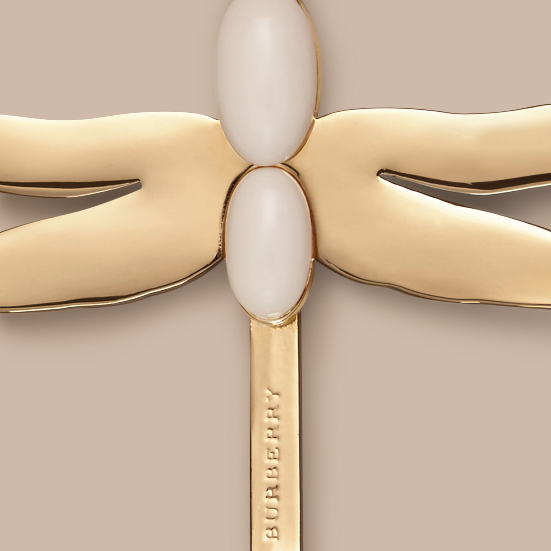 Light gold/off white Dragonfly Detail Hairslide - gallery image 2