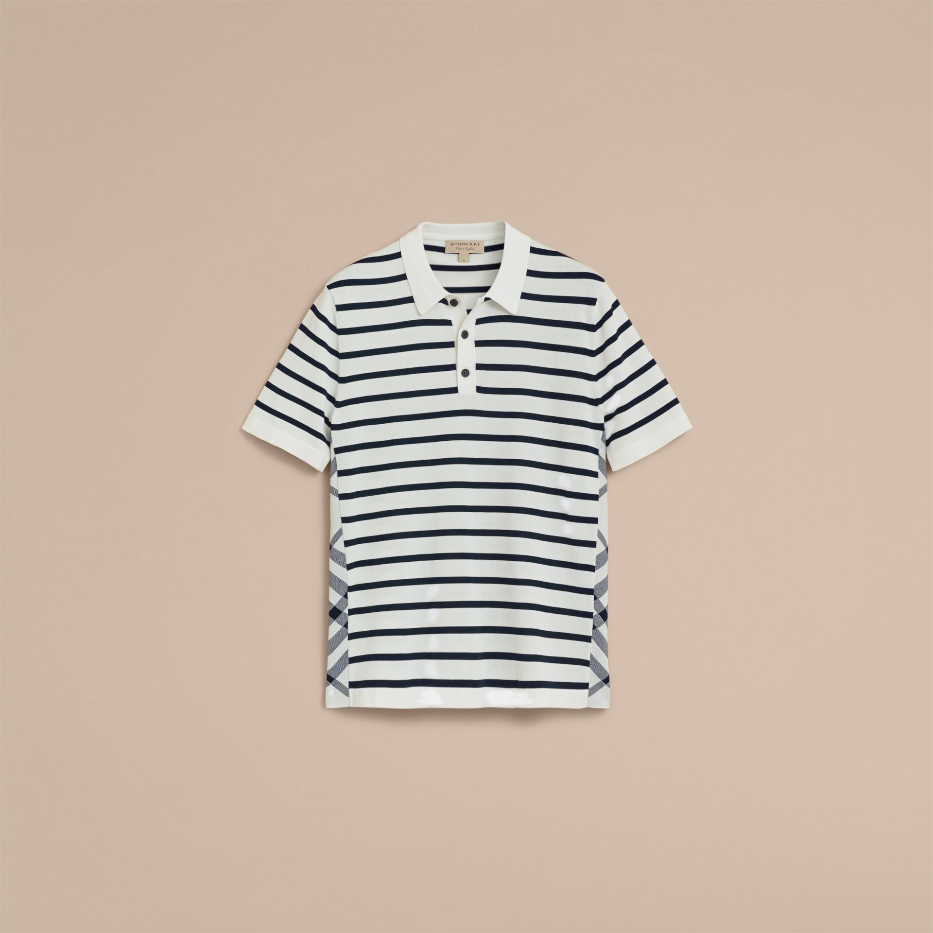 Breton Stripe Cotton Polo Shirt in White - Men | Burberry - gallery image 4