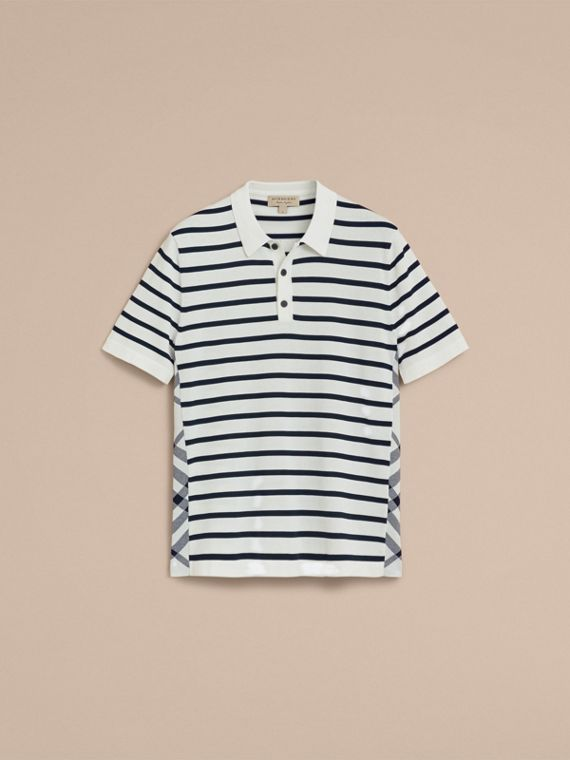 Breton Stripe Cotton Polo Shirt in White - Men | Burberry - cell image 3