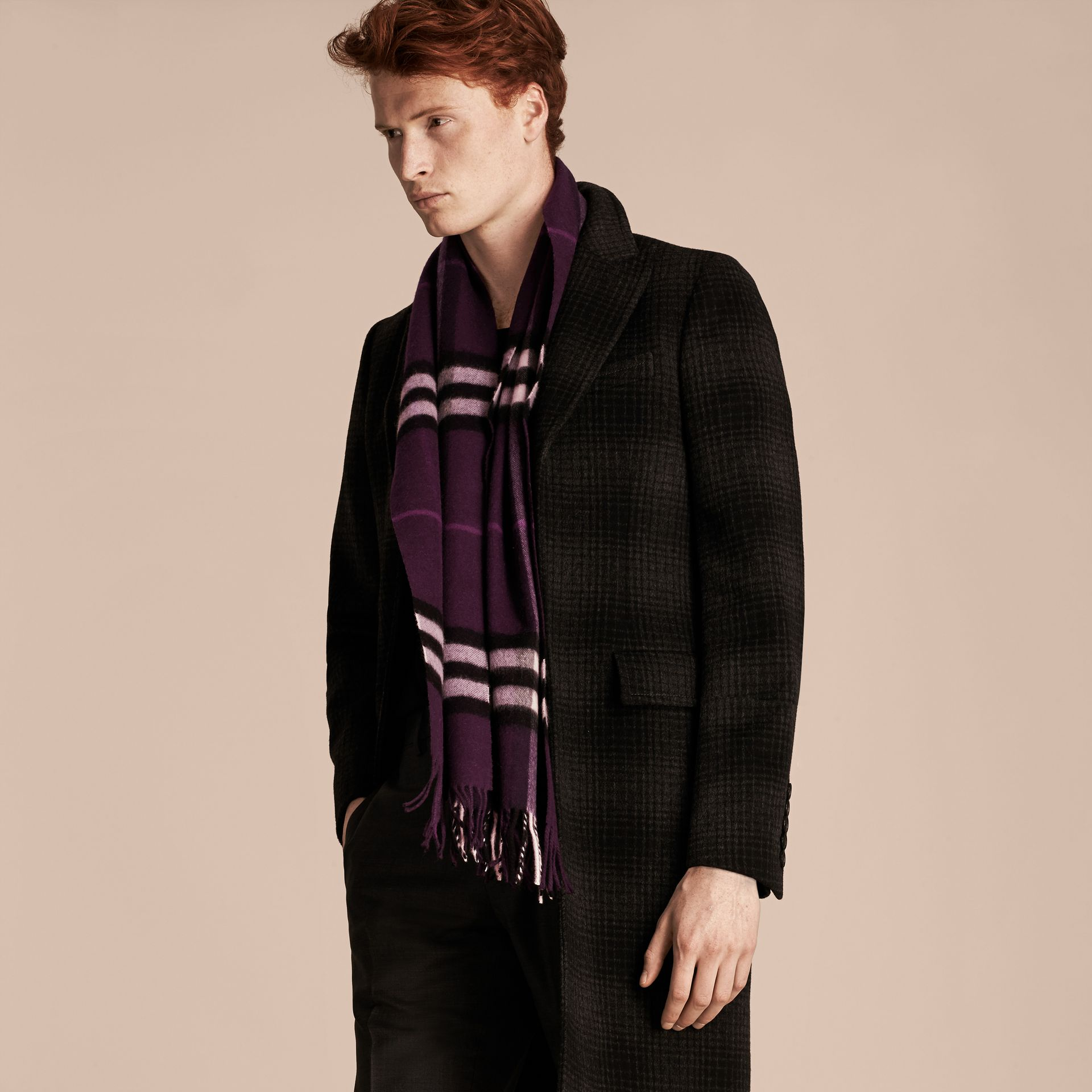 The Classic Cashmere Scarf in Check Aubergine - gallery image 4