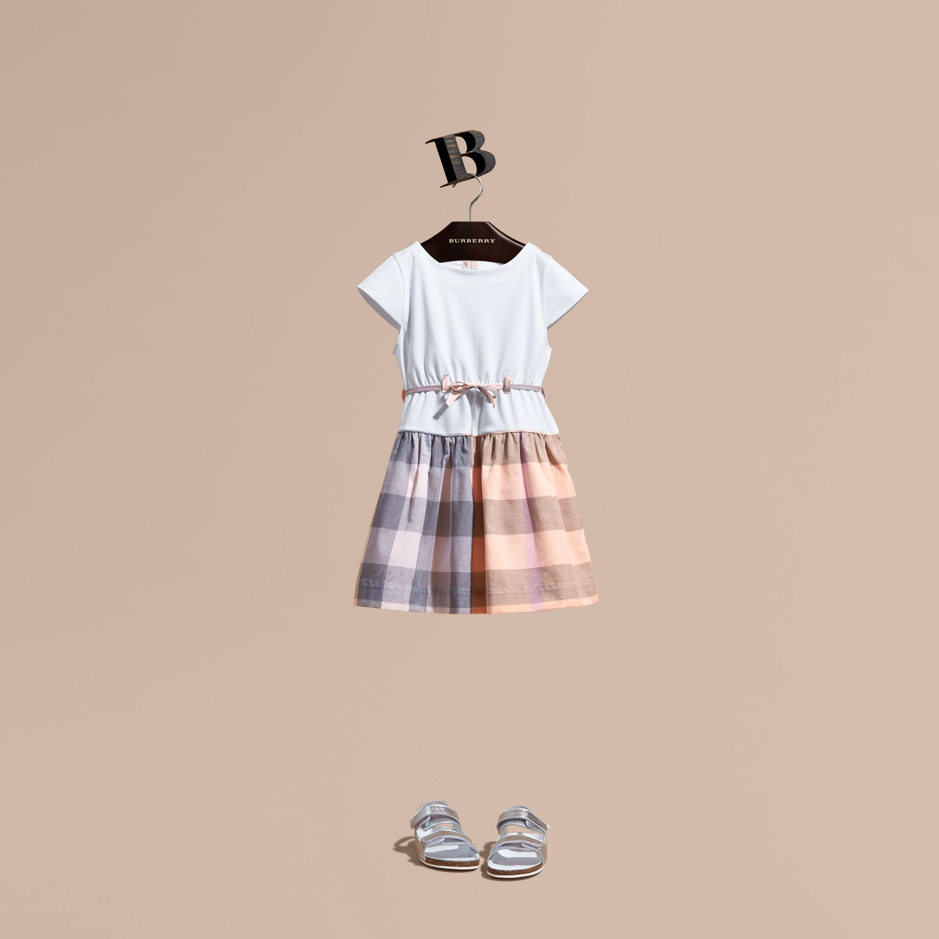 Check Cotton Dress with Cap Sleeves in Apricot - Girl | Burberry - gallery image 1