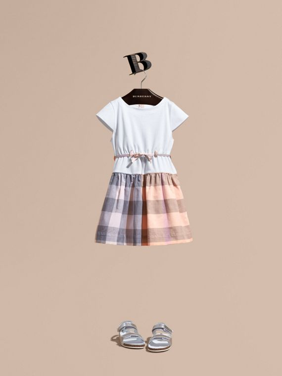 Check Cotton Dress with Cap Sleeves in Apricot