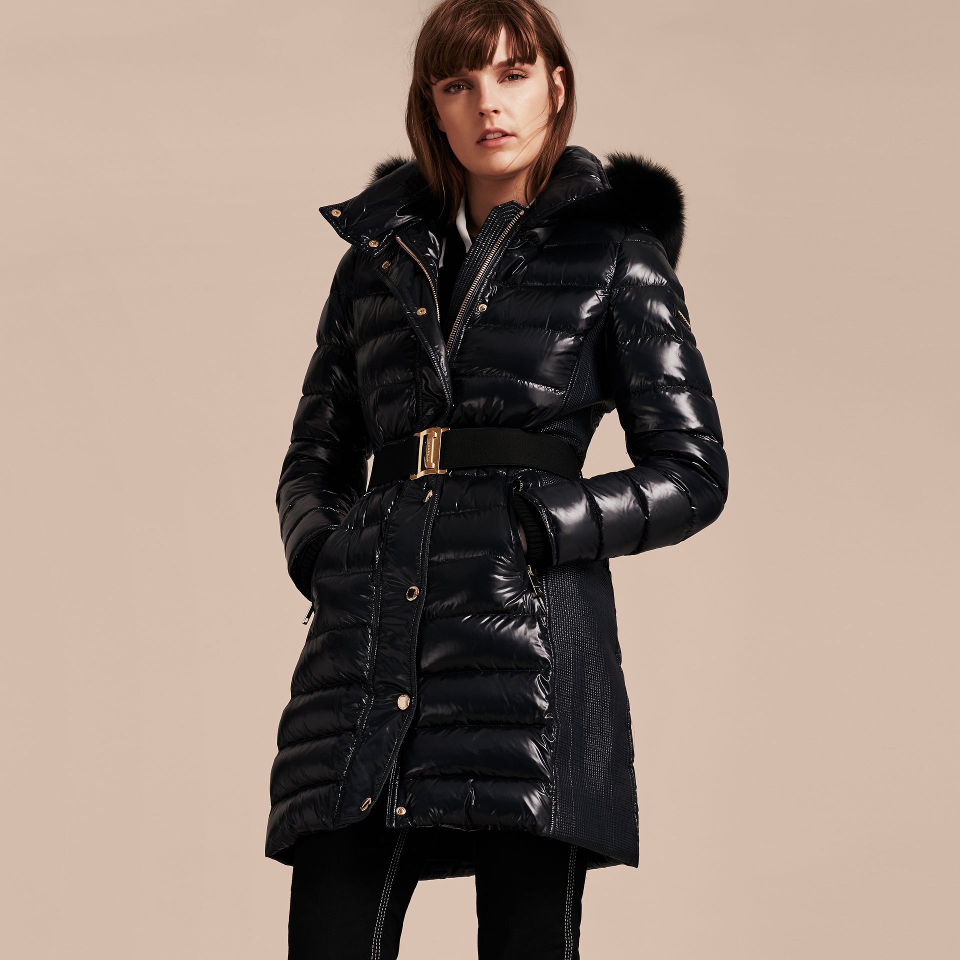 Down-Filled Coat with Detachable Fur-trimmed Hood in Navy - gallery image 7
