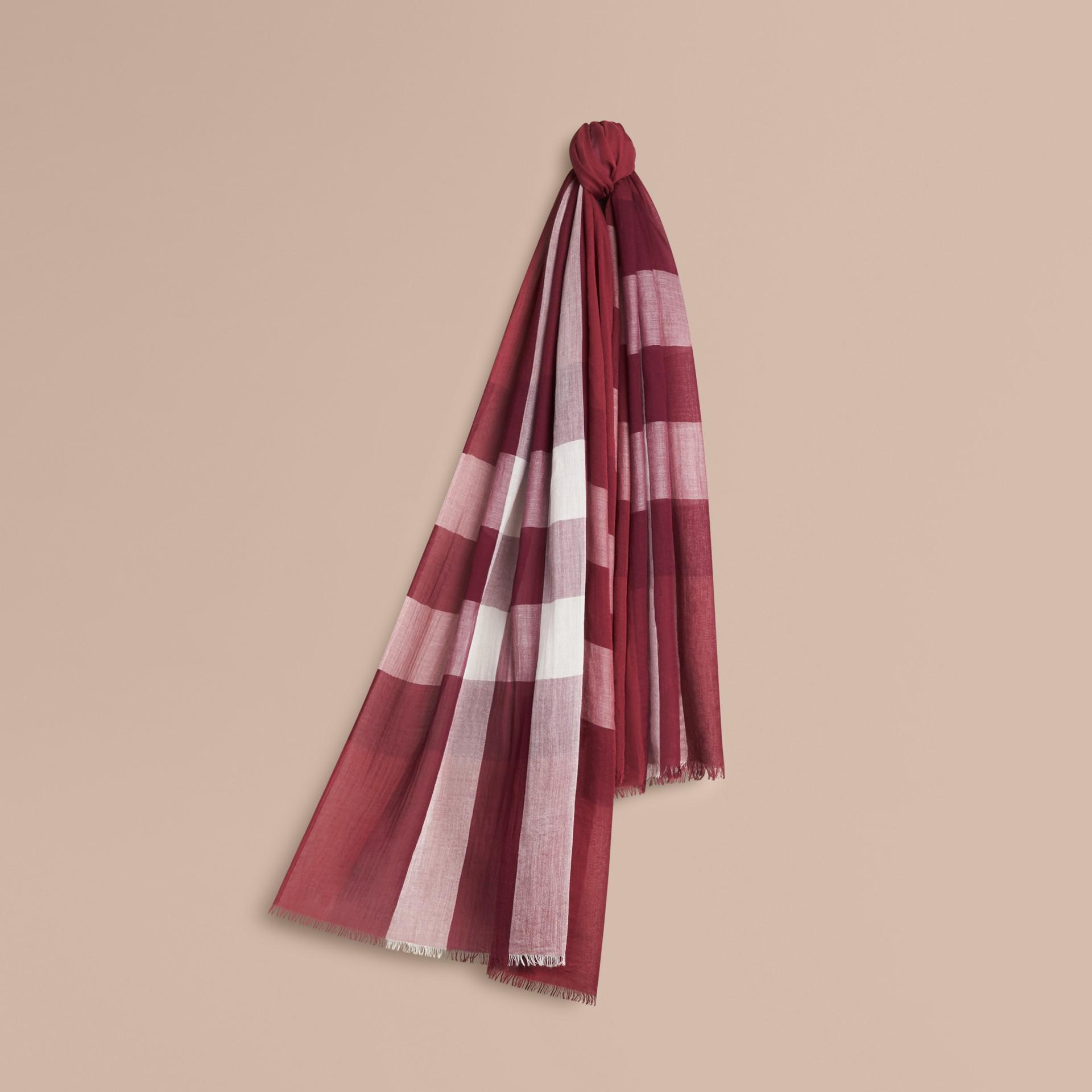 Garnet pink Check Modal Cashmere and Silk Scarf Garnet Pink - gallery image 1