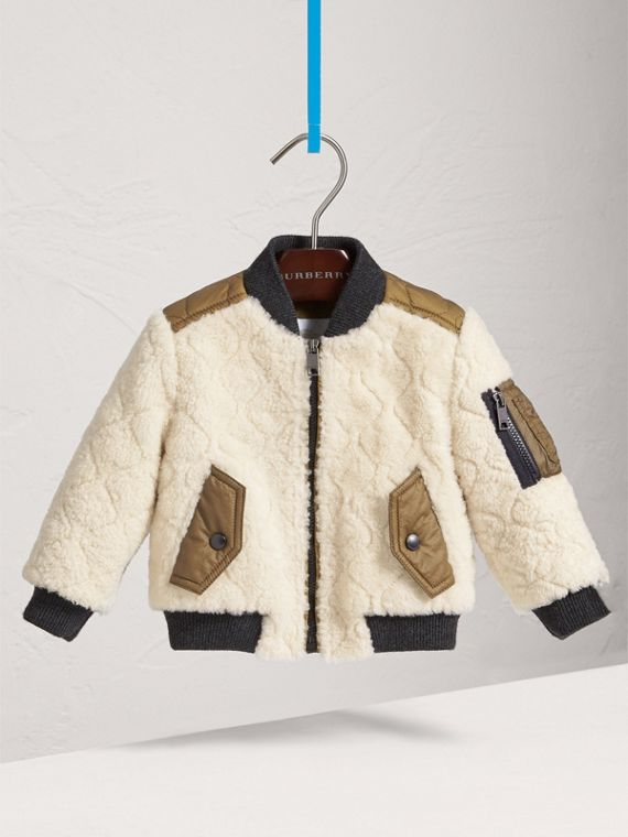 Quilted Lamb Shearling Bomber Jacket in Natural White