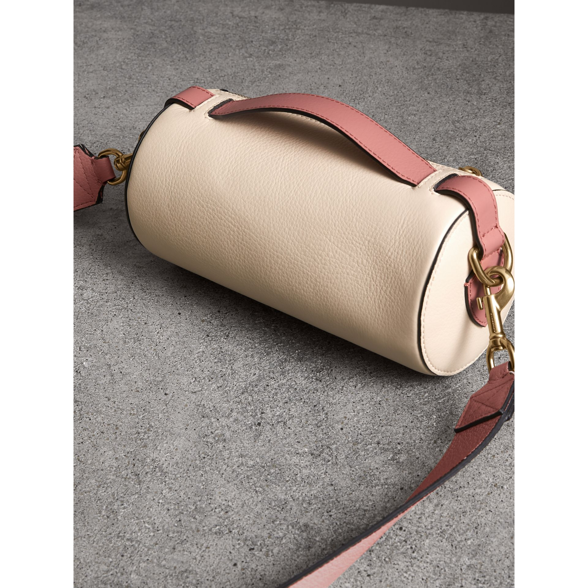 The Leather Barrel Bag in Limestone/dusty Rose - Women | Burberry - gallery image 2