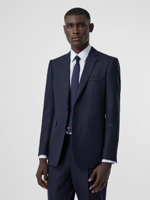 Classic Fit Wool Flannel Tailored Jacket in Navy