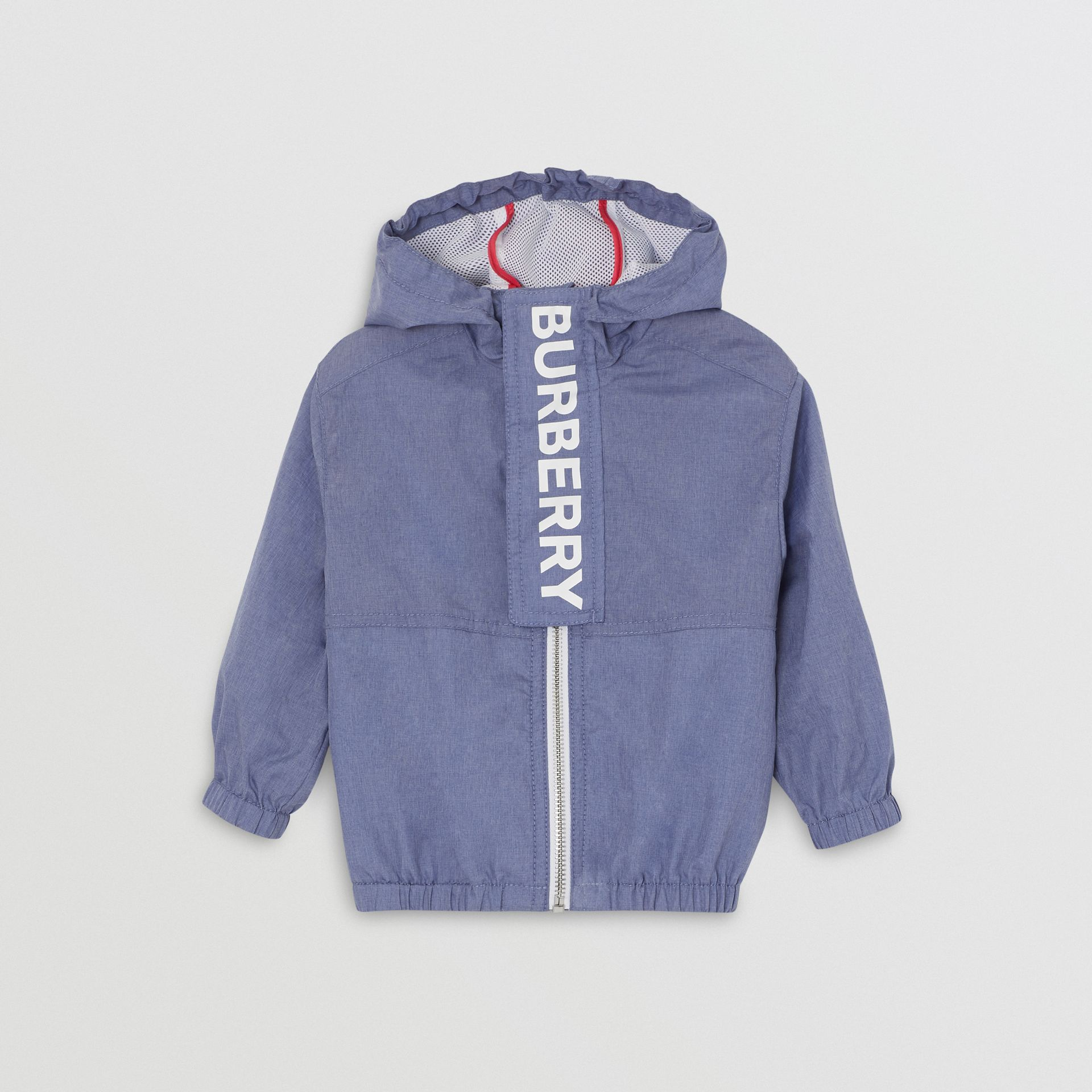 Logo Print Lightweight Hooded Jacket in Sapphire Blue - Children | Burberry Canada - gallery image 0