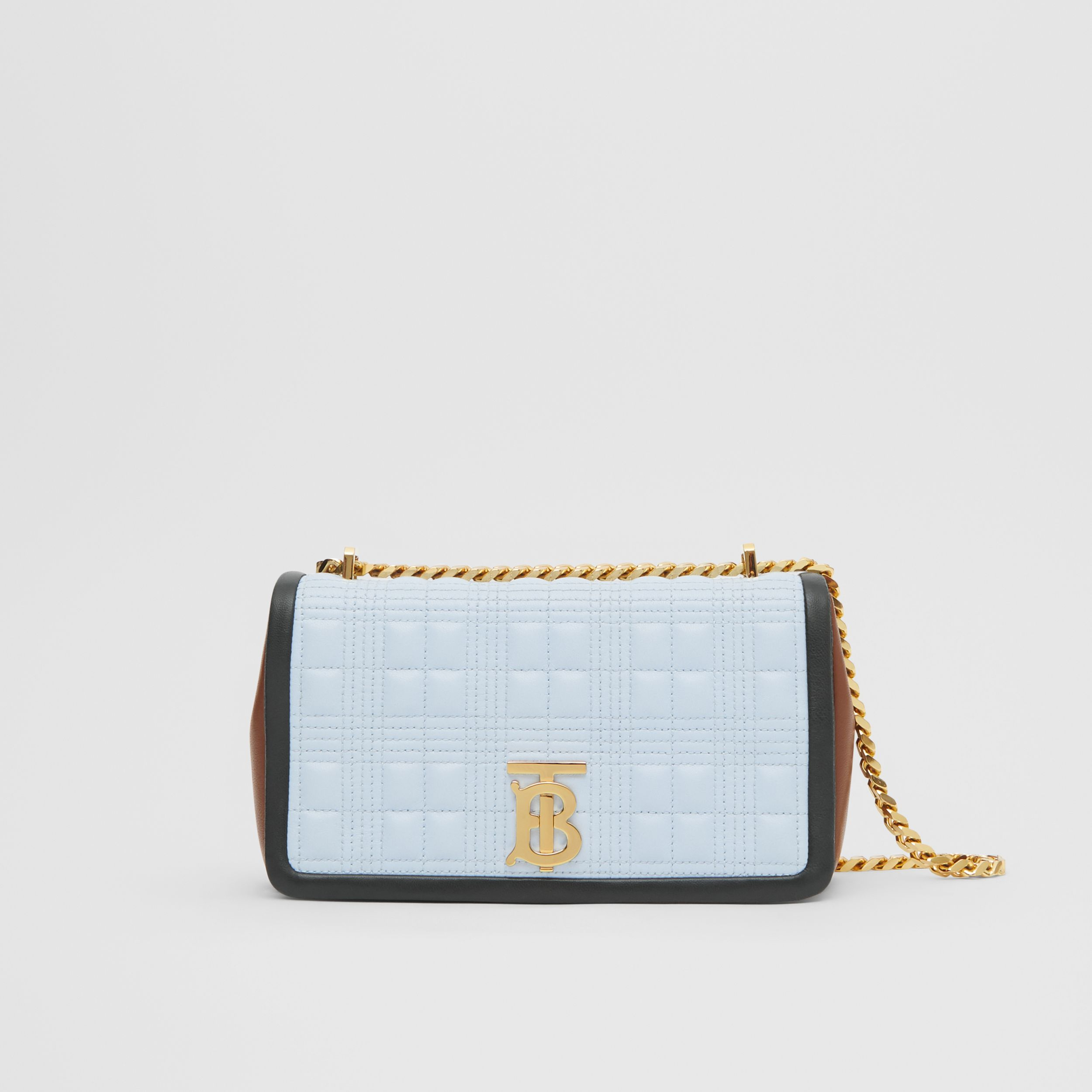 Small Quilted Tri-tone Lambskin Lola Bag in Pale Blue/dark Pine - Women | Burberry - 1