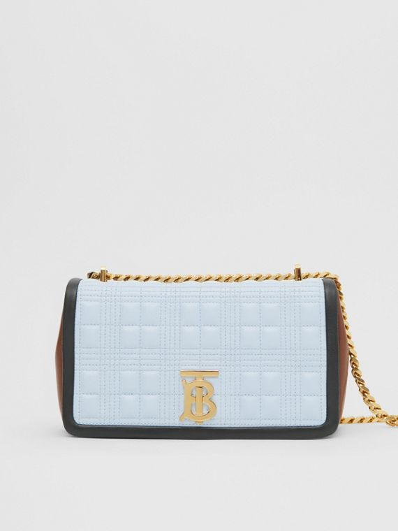 Small Quilted Tri-tone Lambskin Lola Bag in Pale Blue/dark Pine