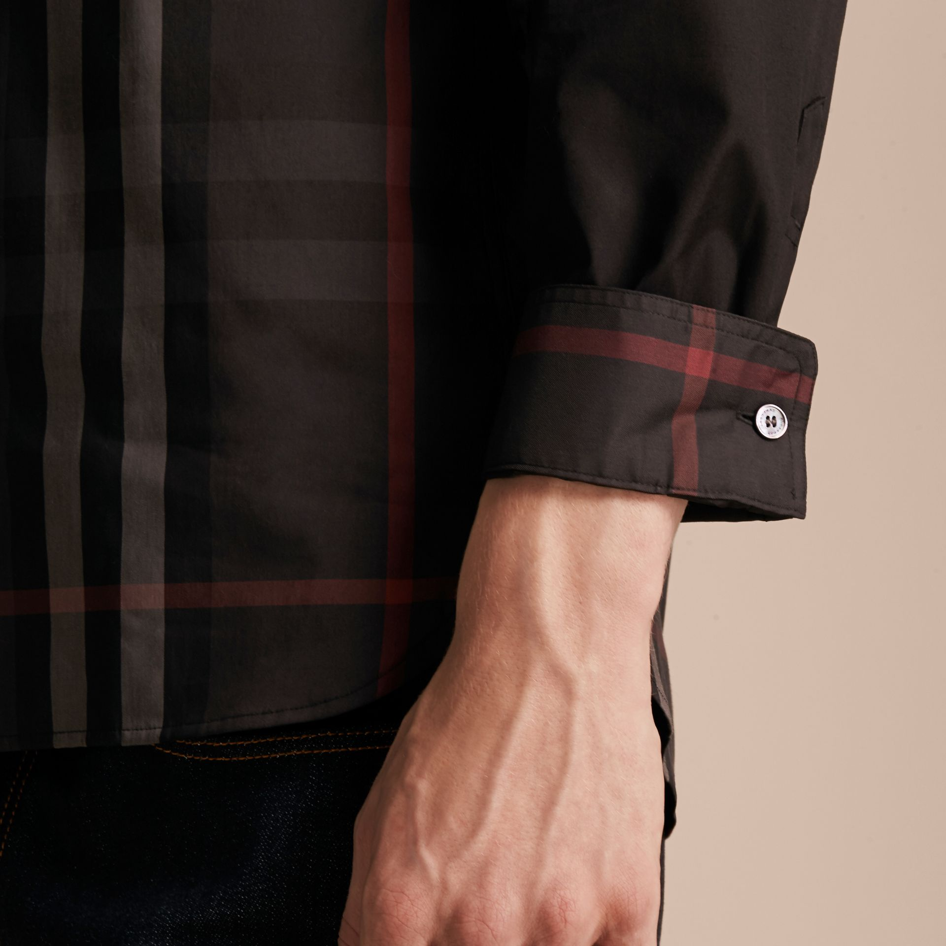 Black Check Panel Stretch-Cotton Poplin Shirt Black - gallery image 5