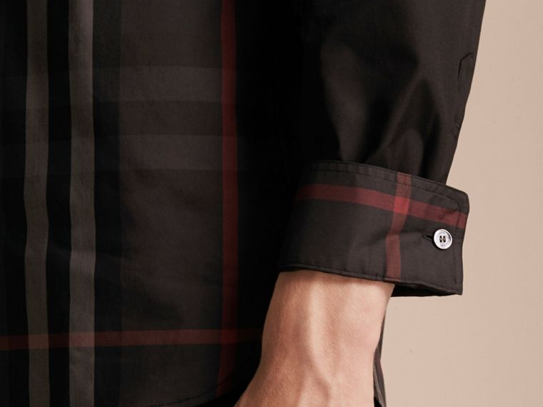 Black Check Panel Stretch-Cotton Poplin Shirt Black - cell image 4