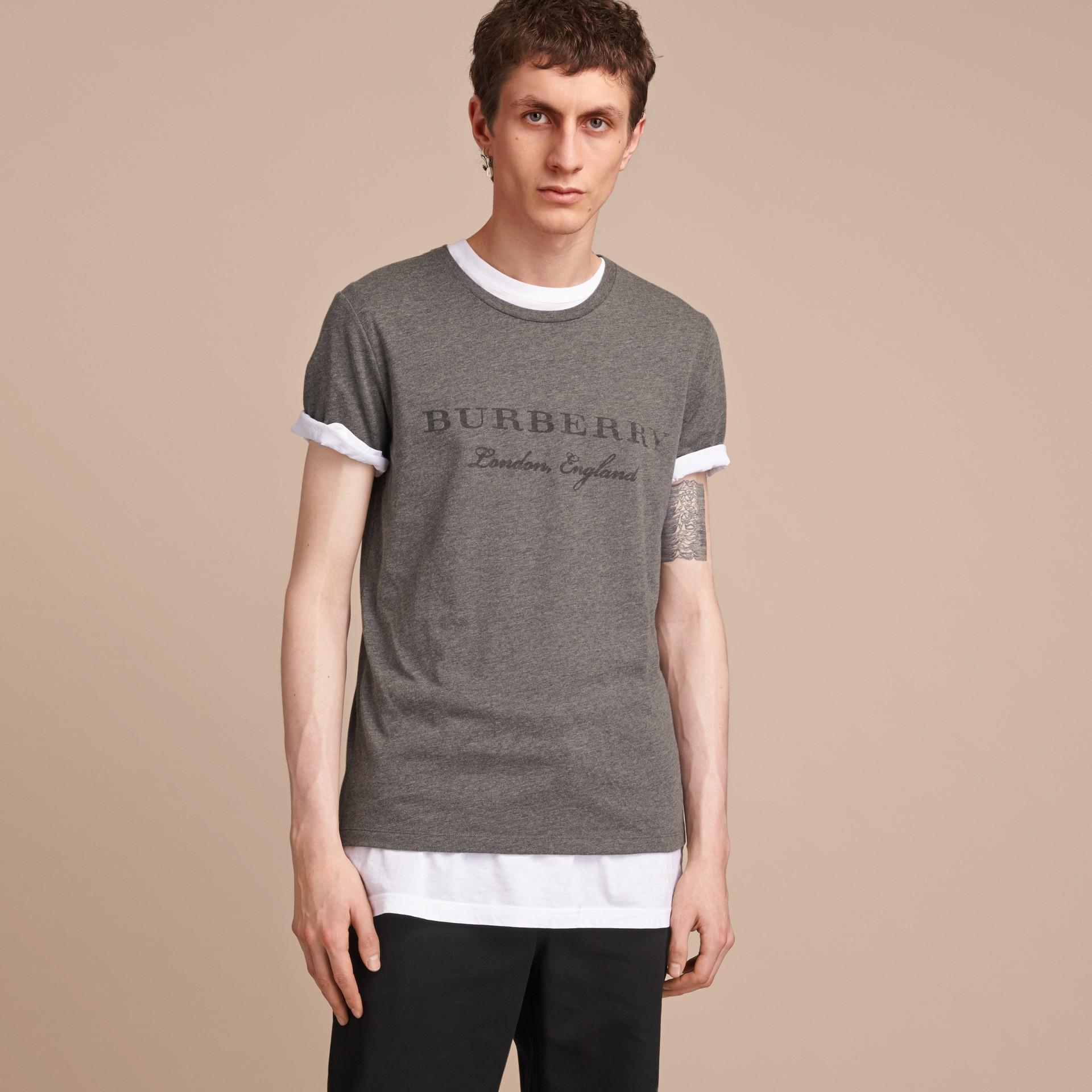 Contrast Motif Cotton Blend T-shirt Mid Grey Melange - gallery image 6