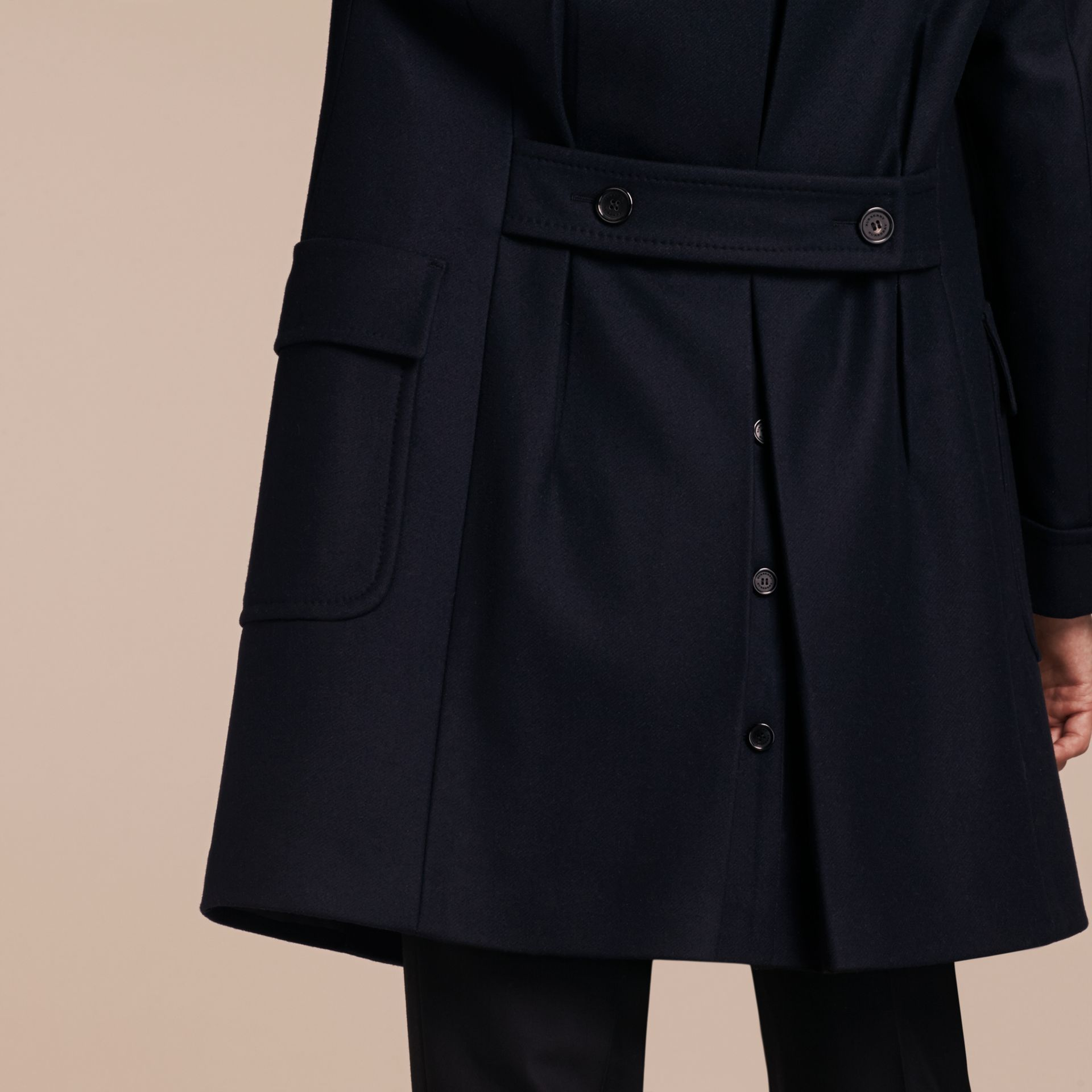 Navy Double-breasted Technical Wool Cashmere Fur Collar Coat - gallery image 6
