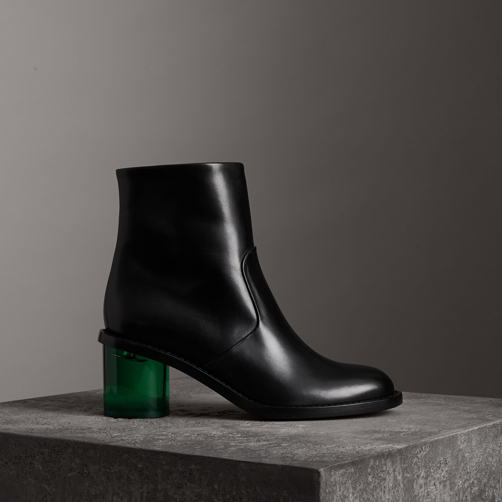 Two-tone Leather Block-heel Boots in Black - Women | Burberry United Kingdom - gallery image 0