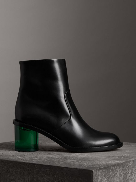 Bottines à talon bottier en cuir bicolore (Noir)