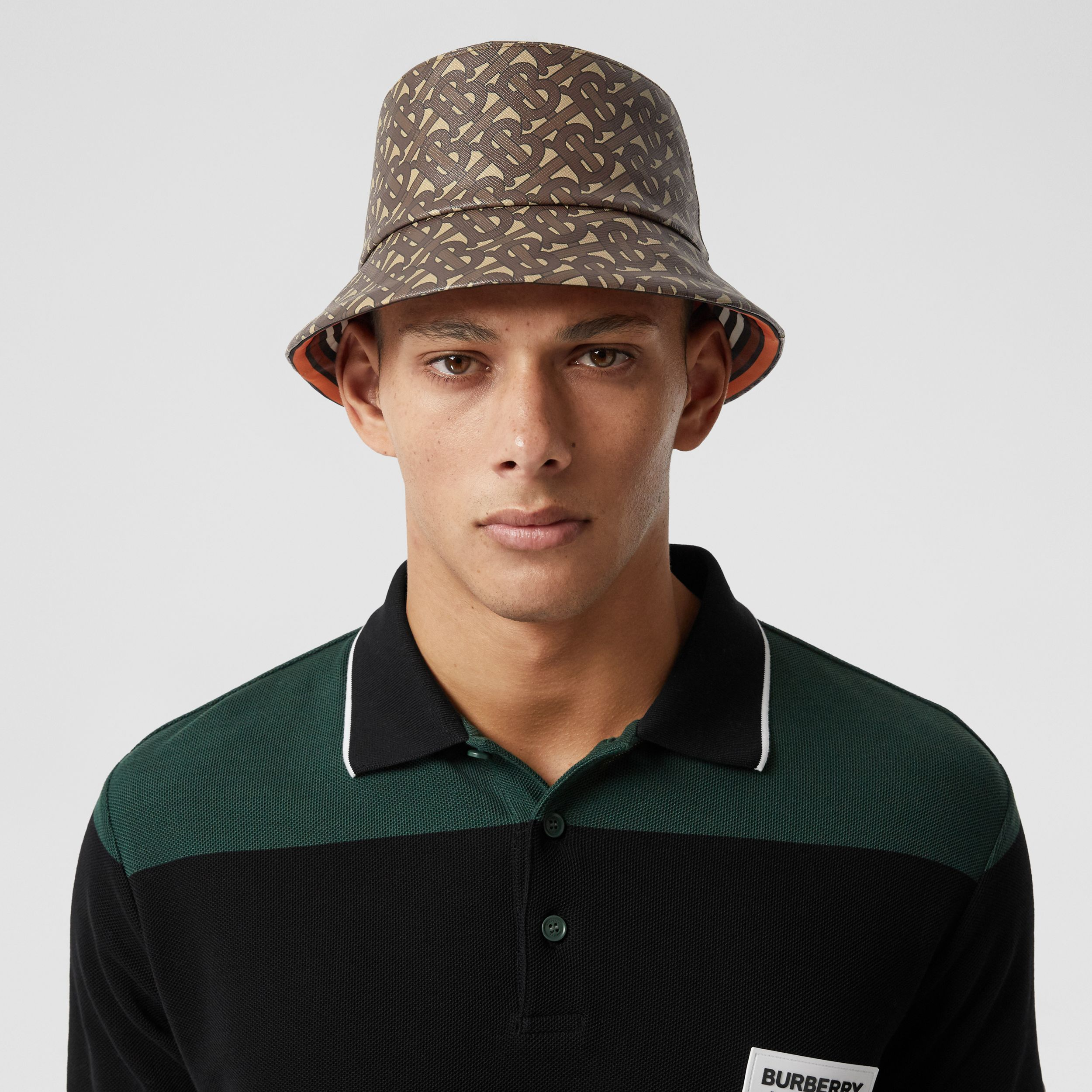 Monogram Print Bucket Hat in Bridle Brown | Burberry - 4