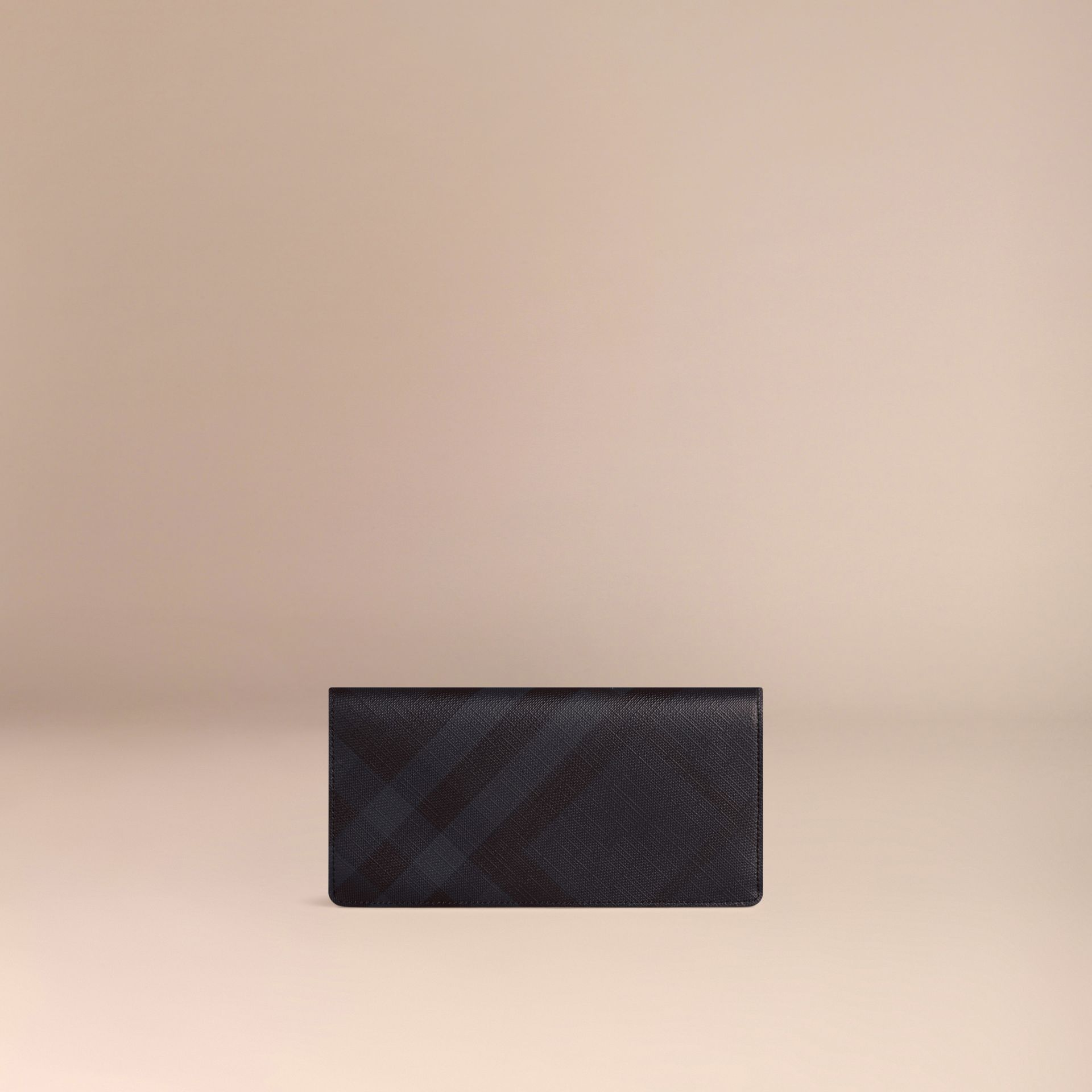 London Check and Leather Continental Wallet Navy/black - gallery image 3