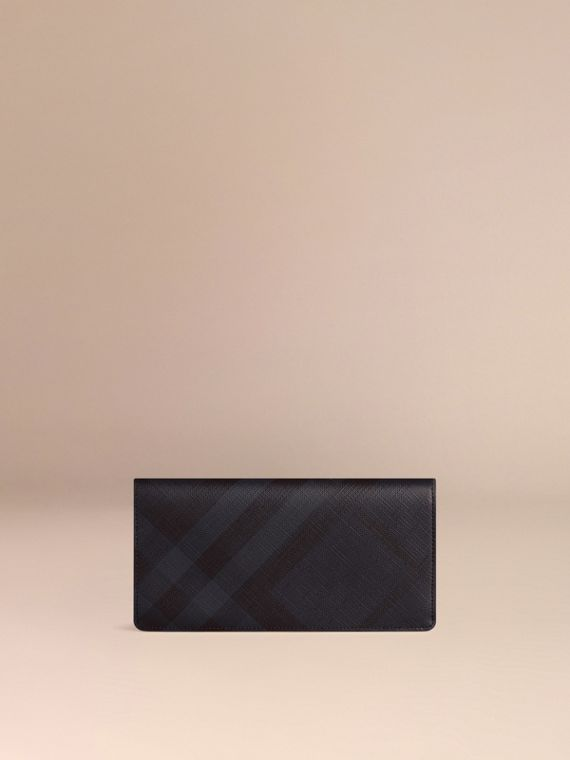 London Check and Leather Continental Wallet in Navy/black - Men | Burberry Australia - cell image 2