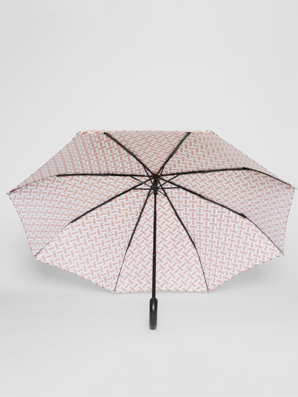 Monogram Print Folding Umbrella in Vermillion | Burberry - cell image 2