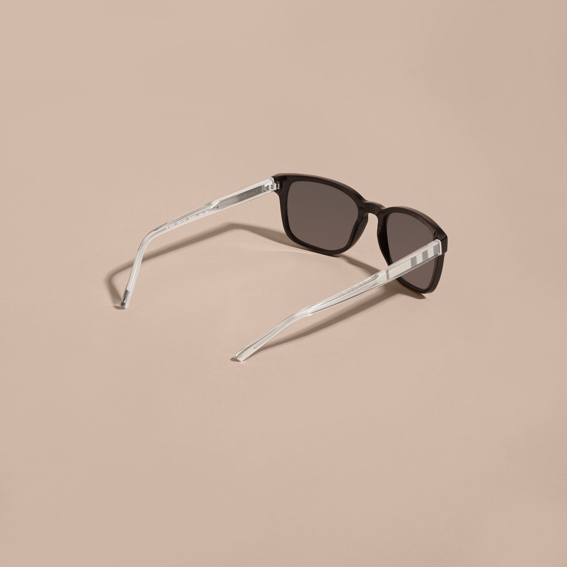 Black Check Detail Square Frame Sunglasses Black - gallery image 4