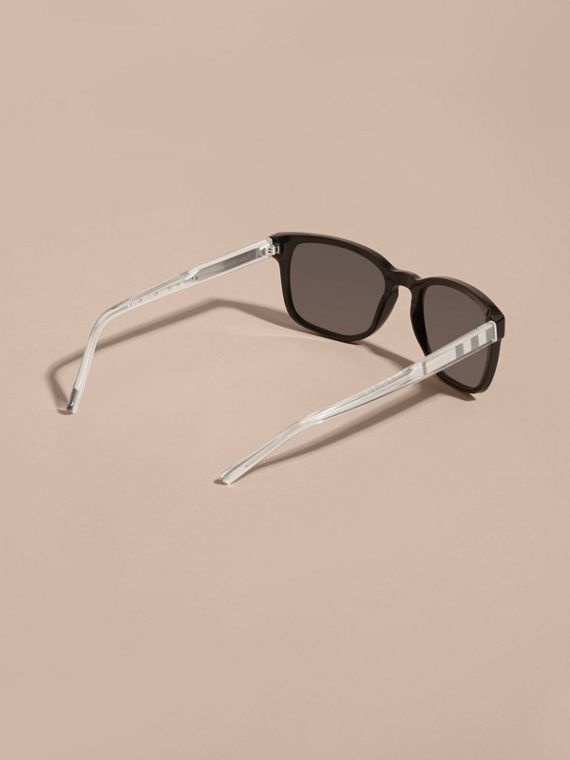 Check Detail Square Frame Sunglasses Black - cell image 3