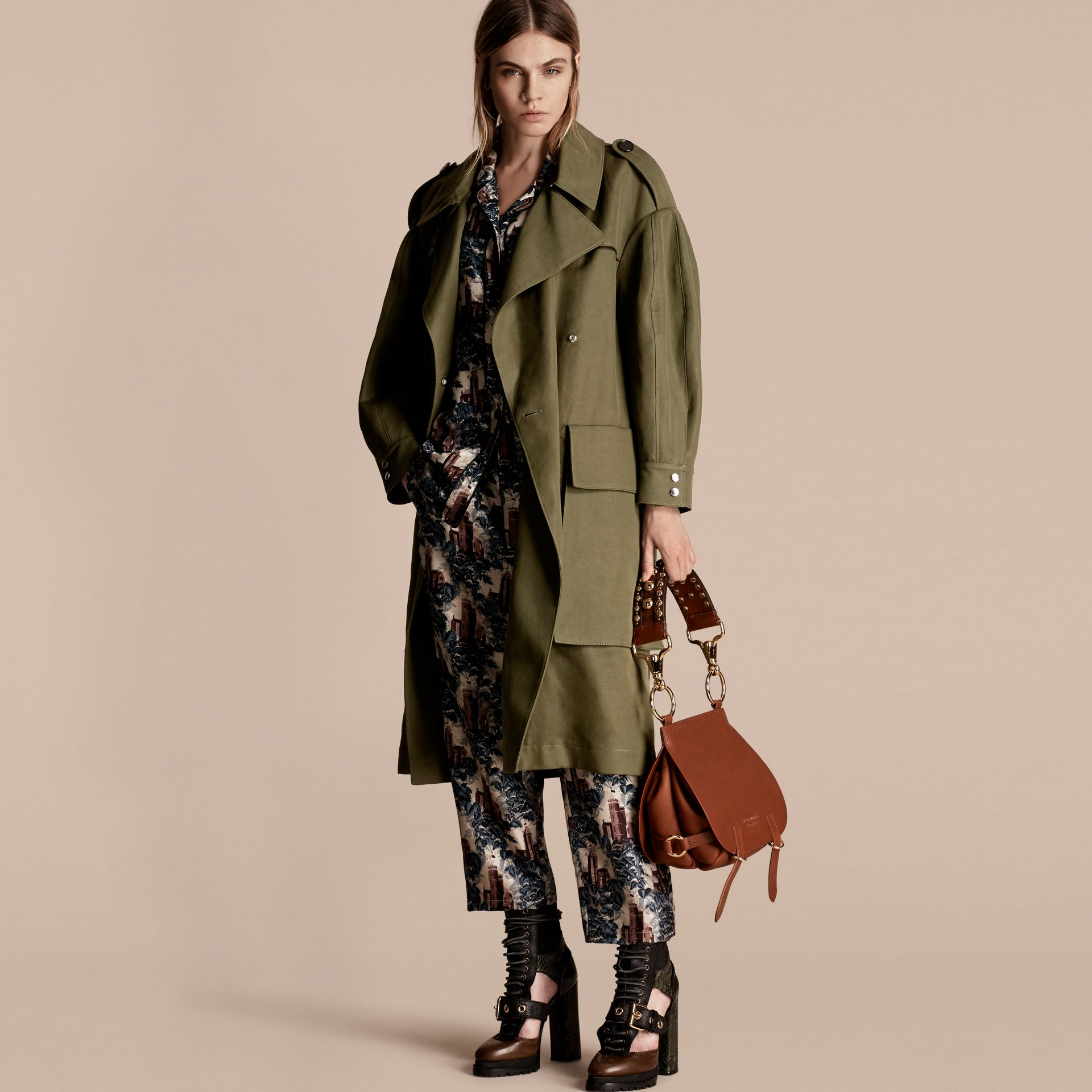 Military green Longline Ramie Cotton Wrap Coat - gallery image 1