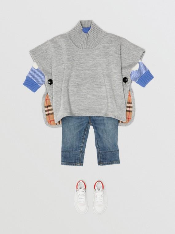 Poncho réversible en jacquard de laine mérinos à motif check (Camaïeu  Gris)
