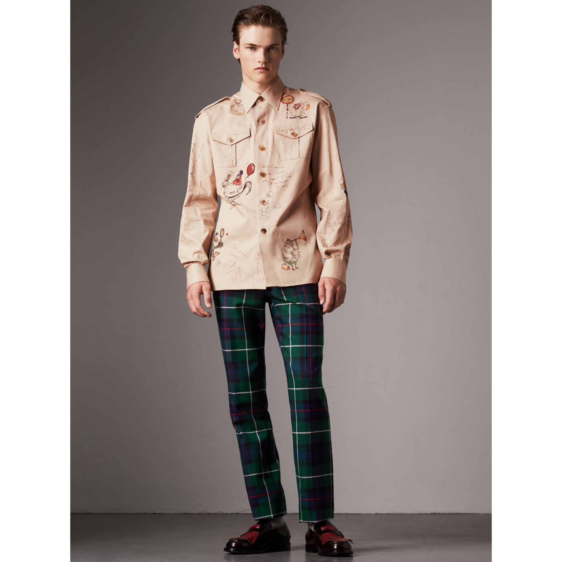Sketch Print Cotton Army Shirt in Sand - Men | Burberry - gallery image 1