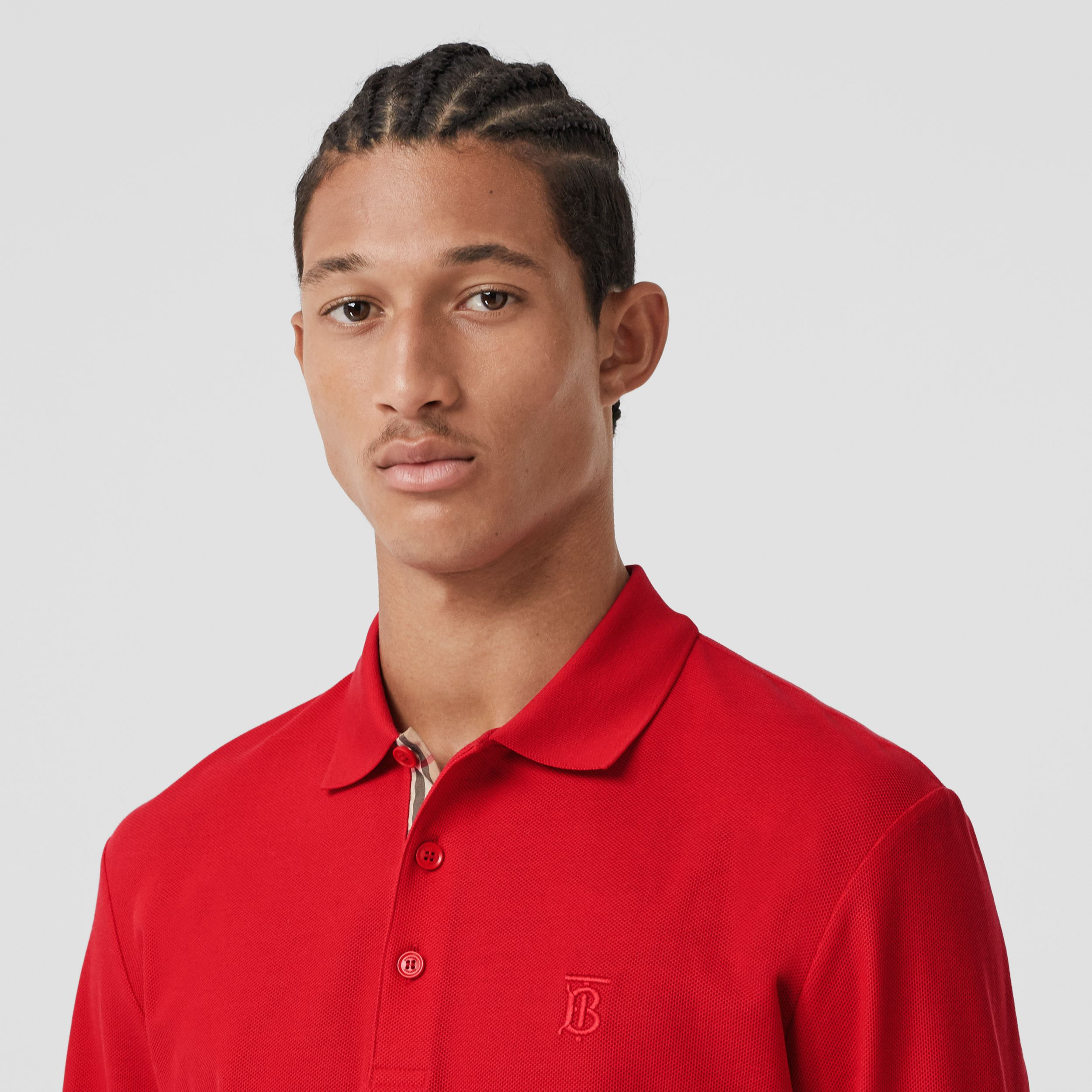 Long-sleeve Monogram Motif Cotton Piqué Polo Shirt in Bright Red - Men | Burberry - 2