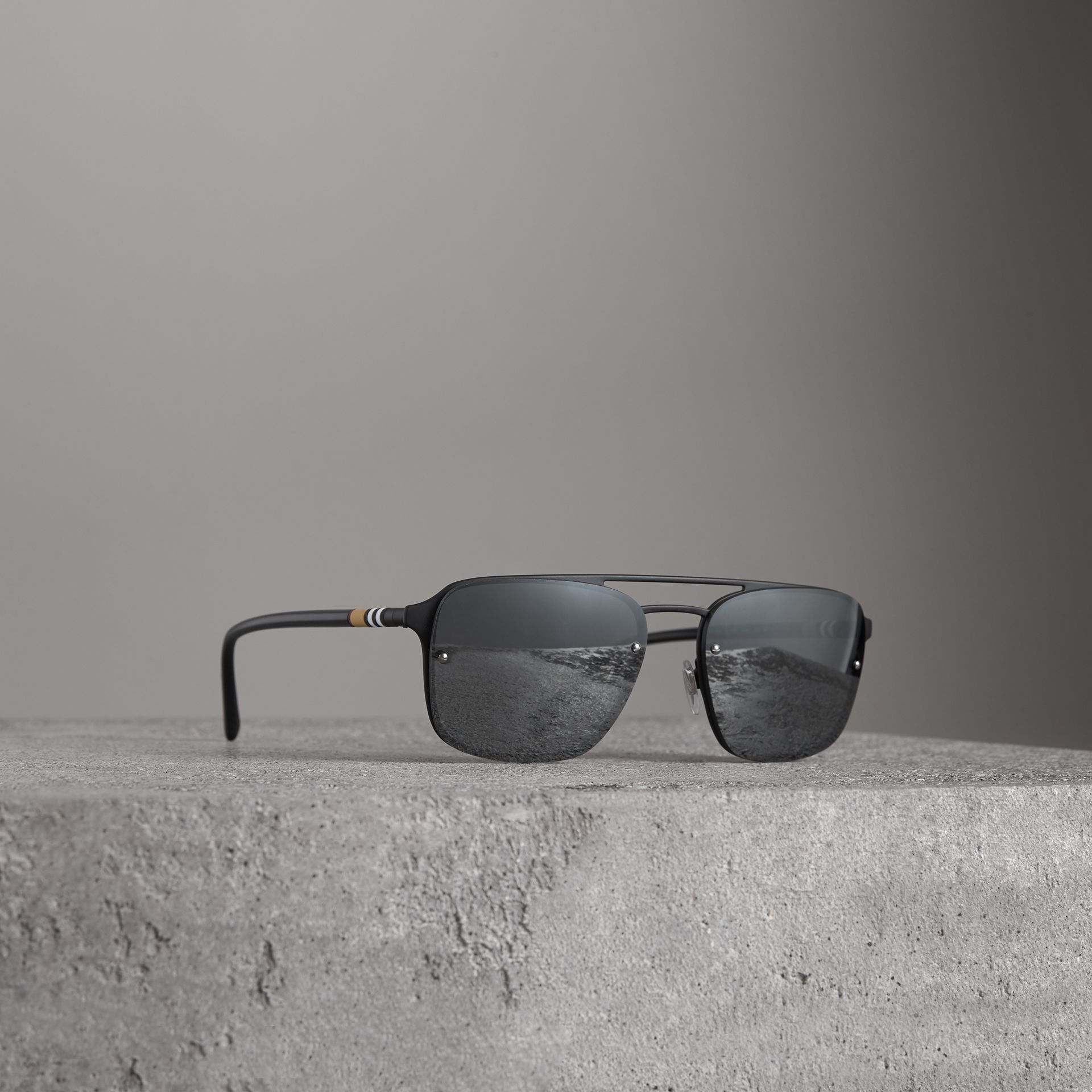Square Frame Rubberised Metal Sunglasses in Black/grey - Men | Burberry - gallery image 0