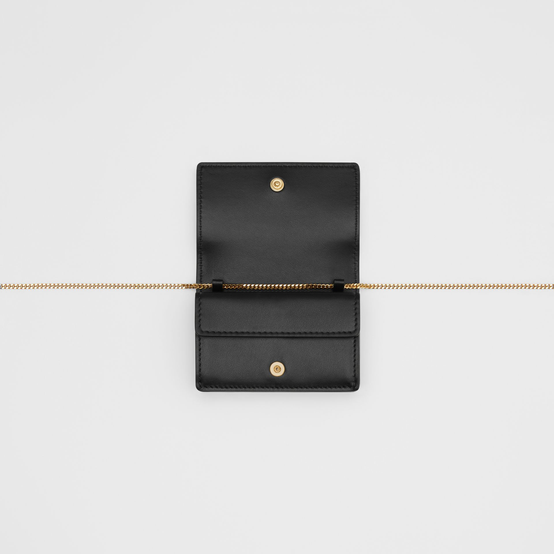 Leather Card Case with Detachable Strap in Black | Burberry - gallery image 4