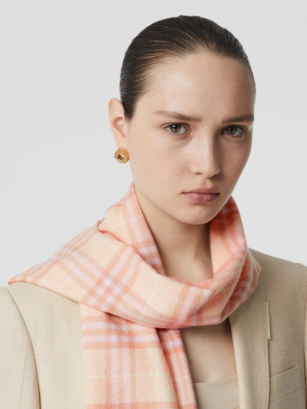 The Classic Vintage Check Cashmere Scarf in Dusty Pink | Burberry Australia - cell image 2