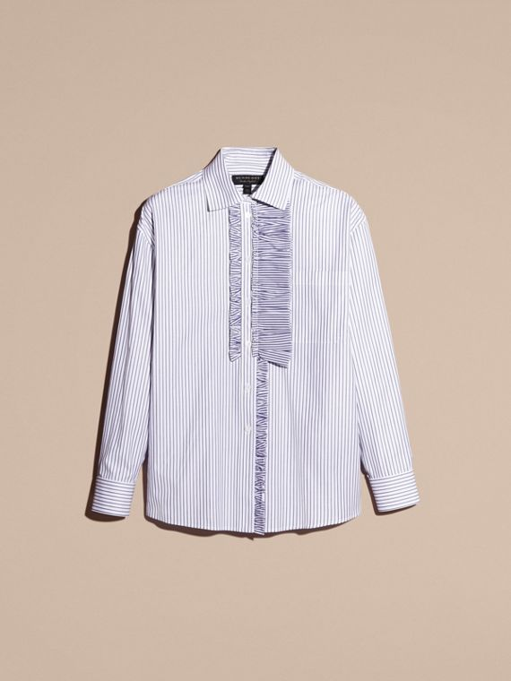 Navy Pinstriped Cotton Shirt with Ruffles - cell image 3