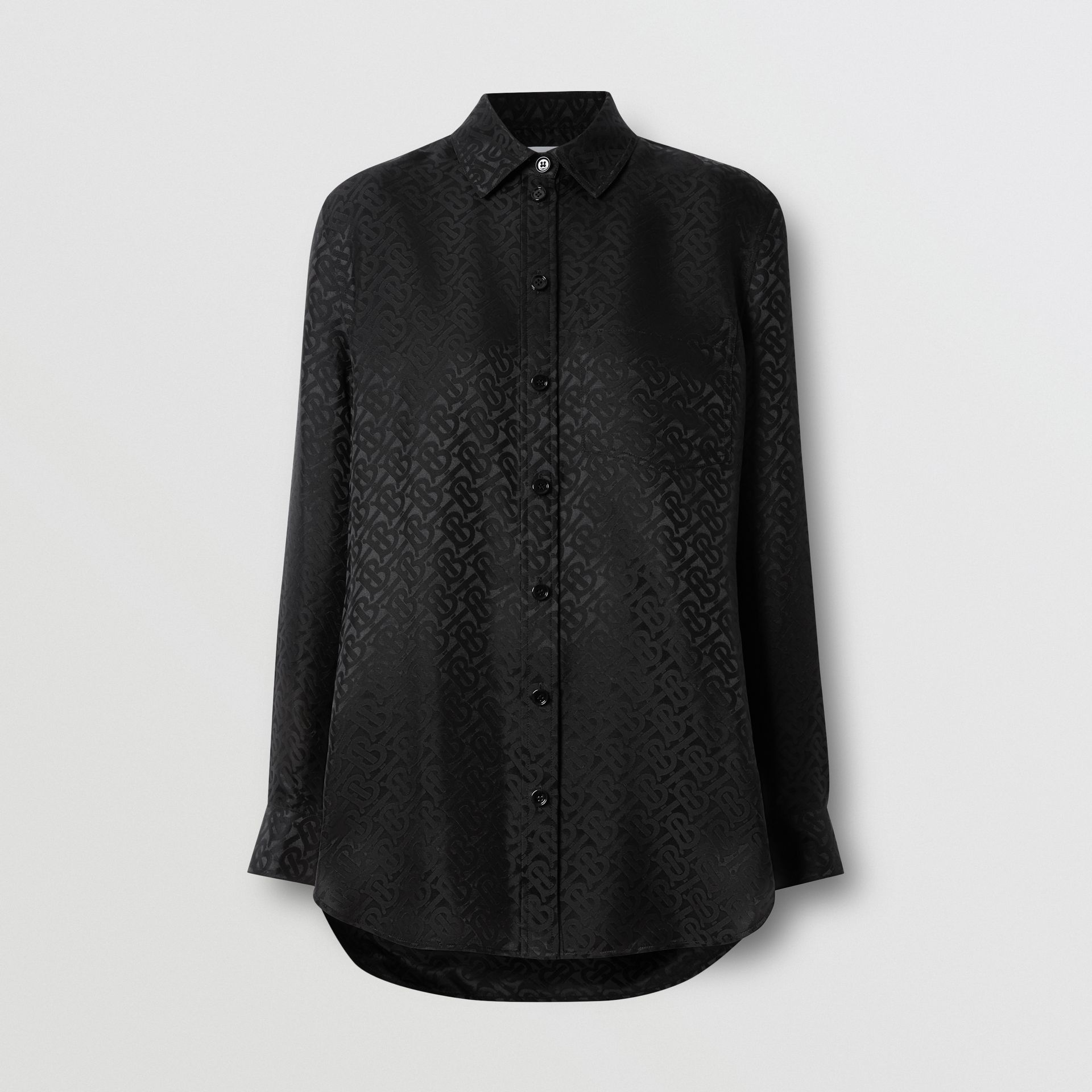 Monogram Silk Jacquard Shirt in Black - Women | Burberry United Kingdom - gallery image 3