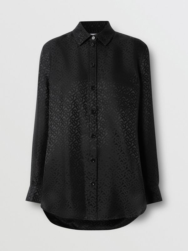 Monogram Silk Jacquard Shirt in Black - Women | Burberry United Kingdom - cell image 3