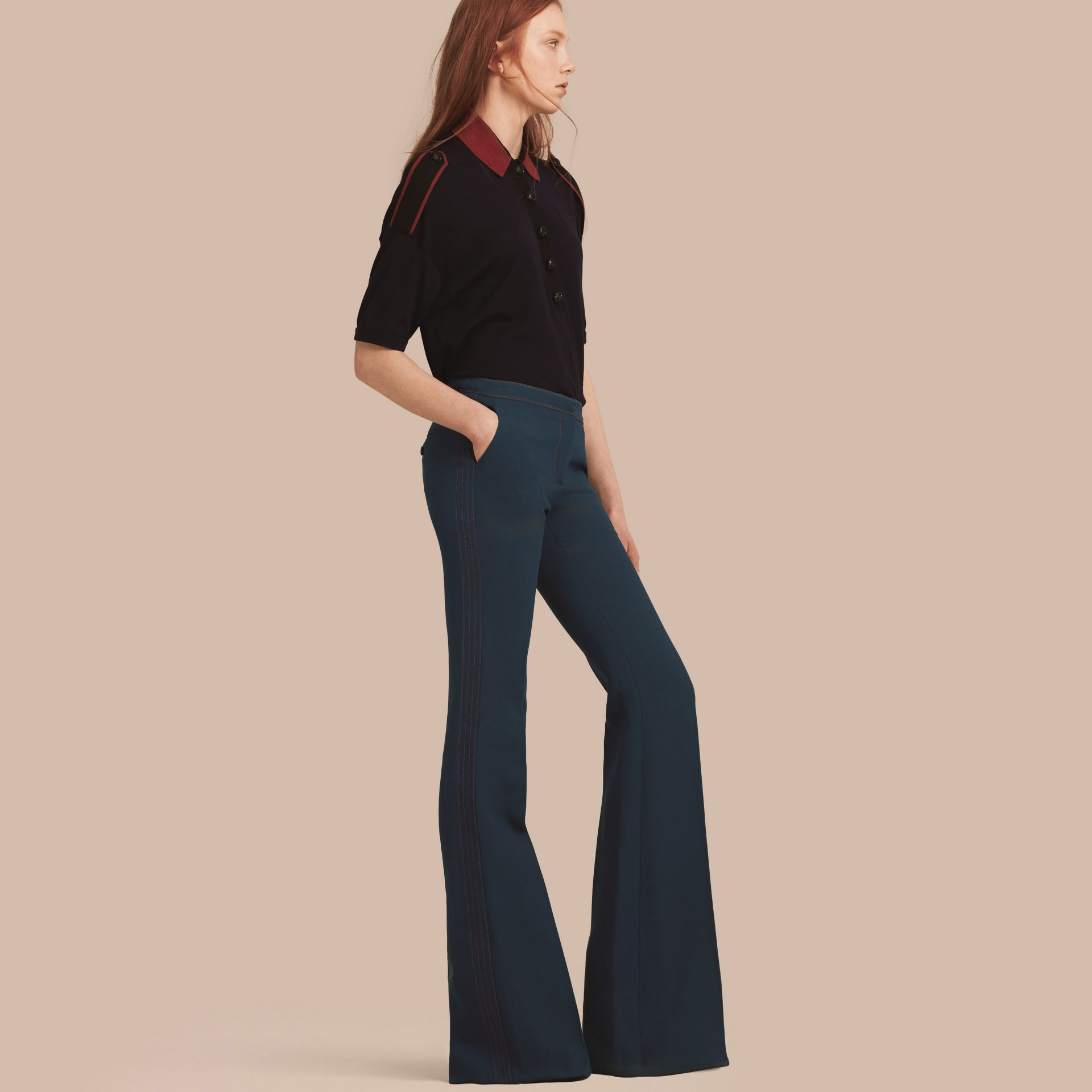 Ink blue Wool Silk Boot-cut Trousers - gallery image 1