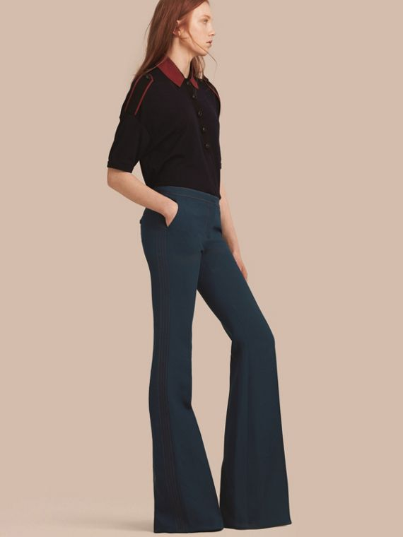 Wool Silk Boot-cut Trousers