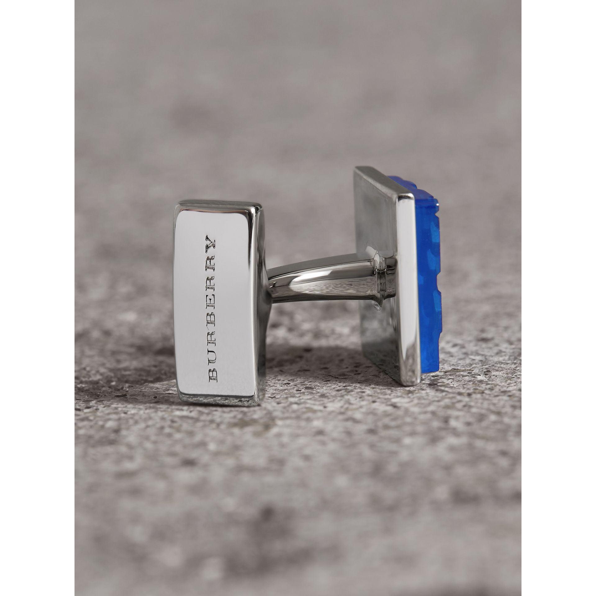Check-engraved Square Cufflinks in Bright Blue - Men | Burberry United Kingdom - gallery image 1